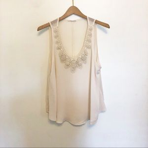 LUSH | ivory tank top with lace detailing medium